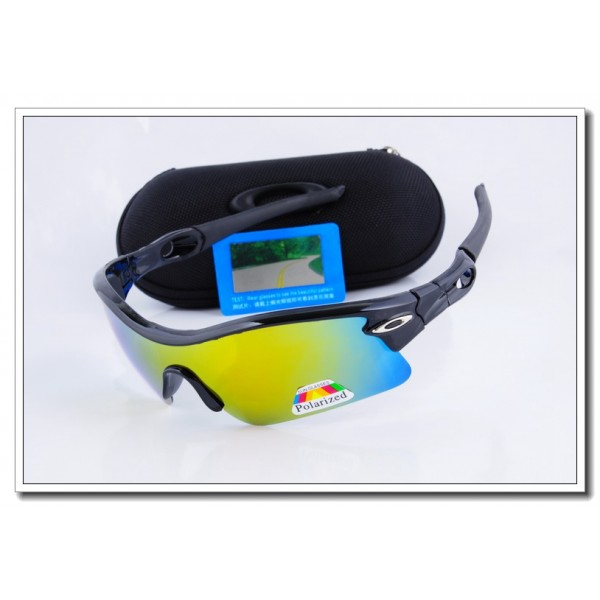 38db089b21c Cheap Fake Oakley radar Polarized Sunglasses Polishing Black Frame yellow  Iridium Lens Sale