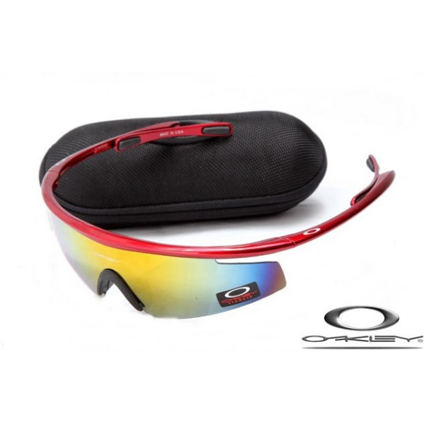7b51154a7a01 Cheap Replica Oakley M2 Frame Sunglasses Polishing Red Frame Yellow Blue  Lens